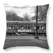 St. Charles Ave. Streetcar Monochrome Throw Pillow