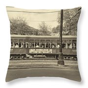 St. Charles Ave. Streetcar Sepia Throw Pillow