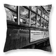 St. Charles Ave Streetcar Whizzes By-black And White Throw Pillow