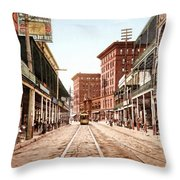 St Charles Street New Orleans 1900 Throw Pillow by Unknown