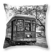 St. Charles Streetcar 2 Bw Throw Pillow