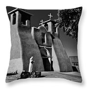 St Francis In Black And White Throw Pillow