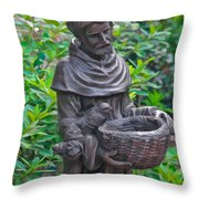 St Francis Of Assisi Garden Statute Throw Pillow