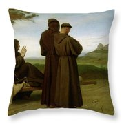 Saint Francis Of Assisi, While Being Carried To His Final Resting Place At Saint-marie-des-anges Throw Pillow