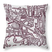 St. George - Woodcut Throw Pillow