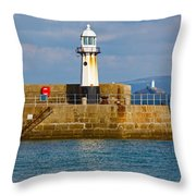St Ives And Godrevy Lighthouses Cornwall Throw Pillow