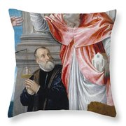 St. Jerome And A Donor Throw Pillow