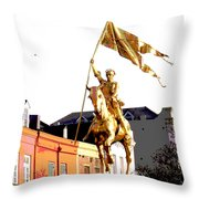 St Joan Of Arc Statue At Dawn Throw Pillow