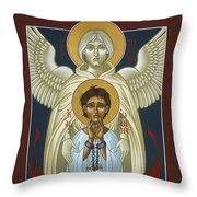 St. Joan Of Arc With St. Michael The Archangel 042 Throw Pillow