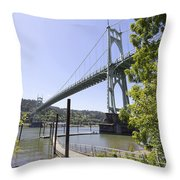 St Johns Bridge Over Willamette River Throw Pillow
