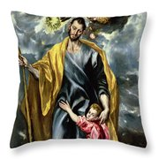 Saint Joseph And The Christ Child Throw Pillow