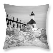 St. Joseph Lighthouse In Ice Field Throw Pillow