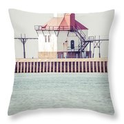 St. Joseph Lighthouse Vertical Panorama Photo Throw Pillow