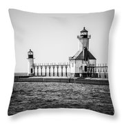 St. Joseph Lighthouses Black And White Picture  Throw Pillow
