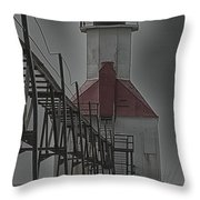 St. Joseph North Pier Lighthouse Lake Michigan Throw Pillow