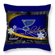 St Louis Blues Christmas Throw Pillow