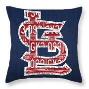 St. Louis Cardinals Baseball Vintage Logo License Plate Art Throw Pillow