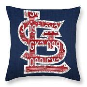 St. Louis Cardinals Baseball Vintage Logo License Plate Art Throw Pillow