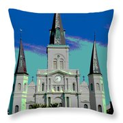 St Louis Cathedral 3 Throw Pillow