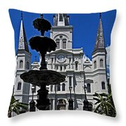 St Louis Cathedral Fountain Throw Pillow
