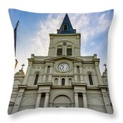 St Louis Cathedral Twilight Throw Pillow