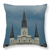 St Louis Cathedral Under Storm Clouds Throw Pillow