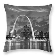 St. Louis Skyline At Dusk Gateway Arch Black And White Bw Panorama Missouri Throw Pillow