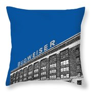 St Louis Skyline Budweiser Brewery - Royal Blue Throw Pillow by DB Artist