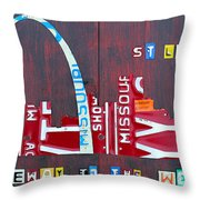 St. Louis Skyline License Plate Art Throw Pillow