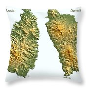 St Lucia And Dominica Map Throw Pillow