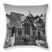 St Malo Chapel On The Rock Colorado Bw Throw Pillow