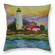 St. Marks Lighthouse-2 Throw Pillow