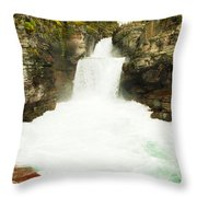 St Mary Falls Glacier National Park Throw Pillow