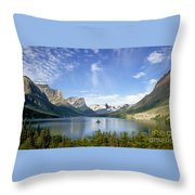 St. Mary Lake And Wild Goose Island Throw Pillow