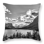 St. Mary Lake Bw Throw Pillow