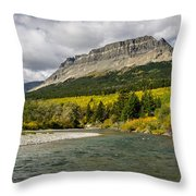 St. Mary River And East Flattop Mountain Throw Pillow
