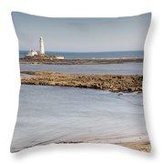 St Marys Lighthouse Across Sandy Bay Throw Pillow