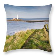 St Marys Lighthouse From Cliff Top Throw Pillow