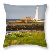 St Marys Lighthouse With Daffodils Throw Pillow