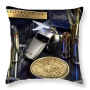 St Michael Law Enforcement Throw Pillow