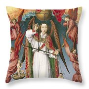 St. Michael Weighing The Souls, From The Last Judgement, C.1445-50 Oil On Panel Detail Of 170072 Throw Pillow