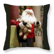 St Nick Teddy Bear Throw Pillow