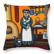 St. Pascual Making Bread Throw Pillow by Victoria De Almeida