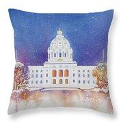 St. Paul Capitol Winter Throw Pillow