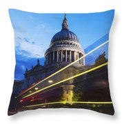 St. Pauls Cathedral And Light Trails Throw Pillow by Mark Thomas