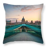 St. Paul's Cathedral And Millennium Bridge In London Throw Pillow