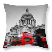 St Pauls Cathedral In London Uk Red Buses In Motion Throw Pillow