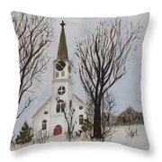St. Pauls Church In Barton Vt In Winter Throw Pillow