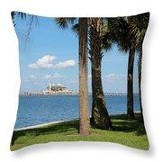 St Pete Pier Through Palm Trees Throw Pillow by Carol Groenen