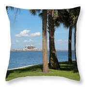 St Pete Pier Through Palm Trees Throw Pillow
